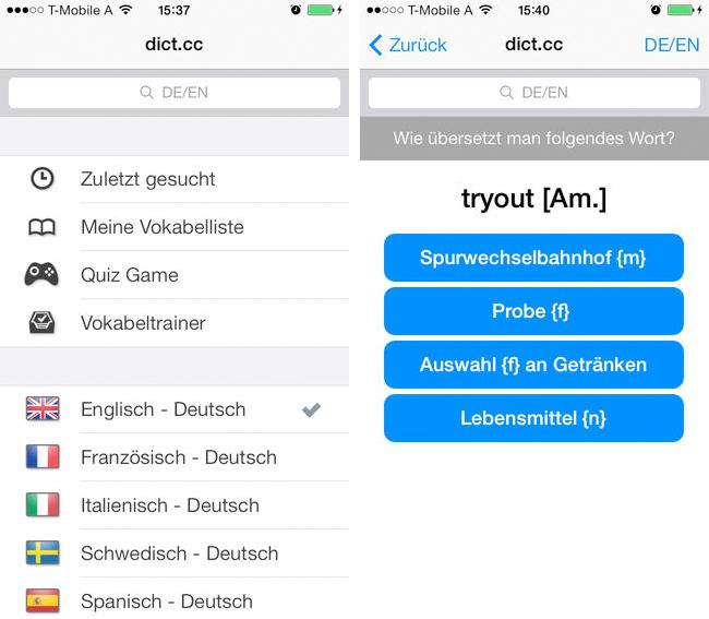 dict.cc - iPhone App Screen 2