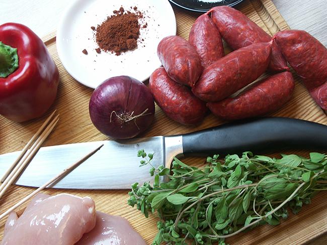 Hähnchenspieße Chorizo Zutaten