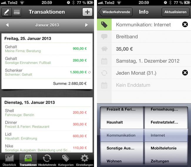 Meine Ausgaben iPhone App 2