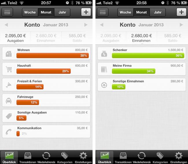 Meine Ausgaben iPhone App