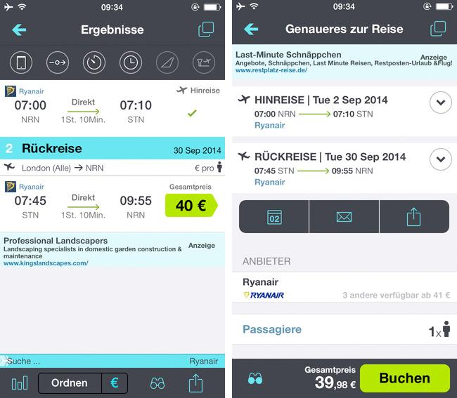 Skyscanner - iPhone App Screen 2