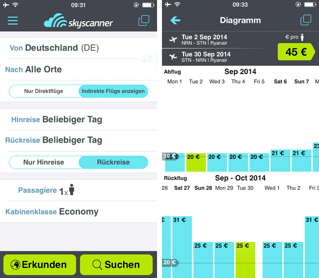 Skyscanner - iPhone App Screen