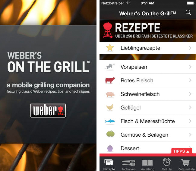 Webers on the Grill - iPhone App Screen